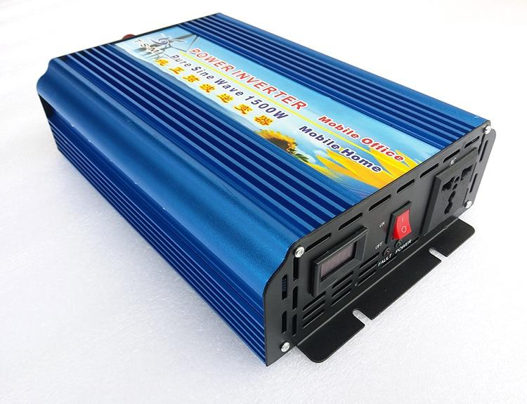 цена на Single Phase digital display 1500W DC12V/24V to AC110V/220V Pure Sine Wave Solar Inverter surge power 3000W