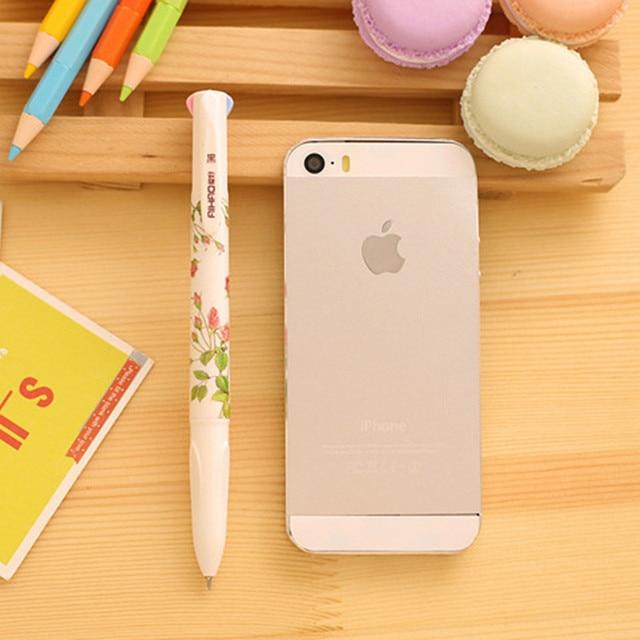 Student 0.5mm Cute Kawaii Flower Plastic Ballpoint Pen Creative 4 Colors Ball Point Pen For Kids Korean Stationery 1518 4