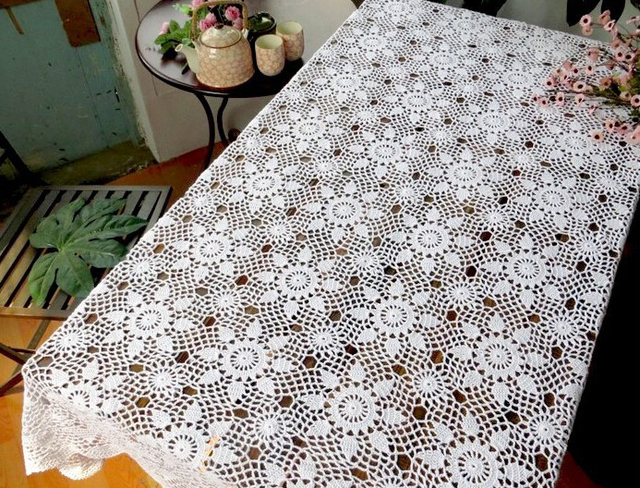 Attractive Furniture Doilies #4 - New Handmade Crochet Flower Garden Rectangular Doilies Woven Cotton Table  Cloth Furniture Cover Cloth Home Textile