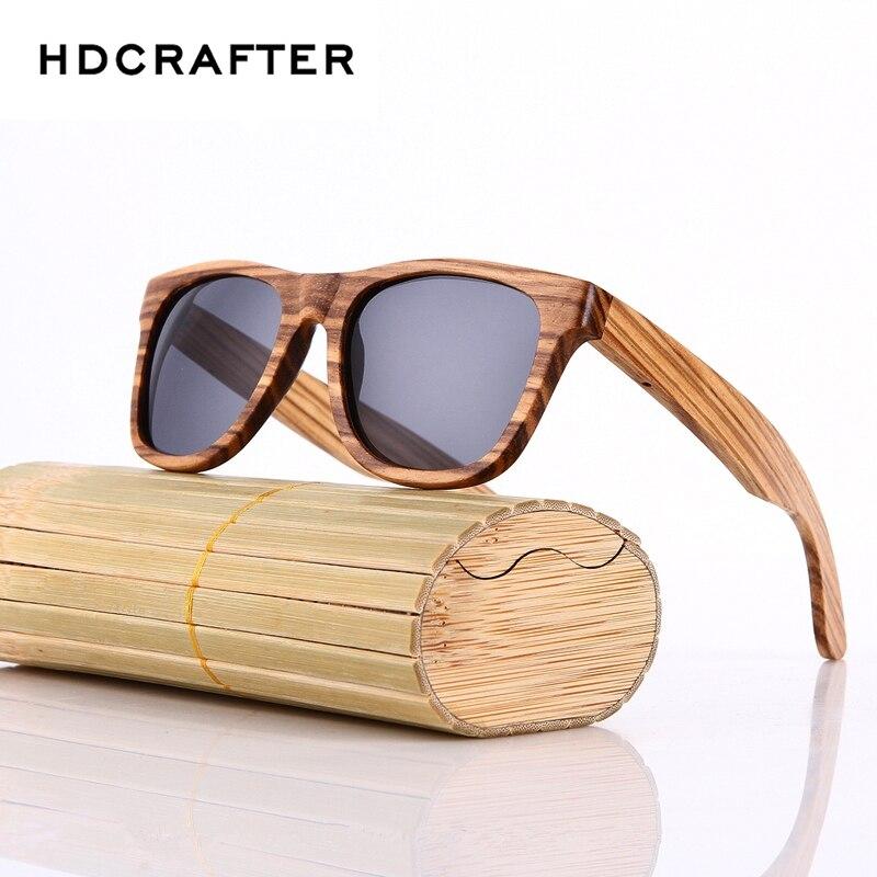 HDCRAFTER 100% Real Wood Sunglasses Polarized Retro Handmade Bamboo Mens Sunglass Sun glasses Men Gafas Oculos De Sol Madera