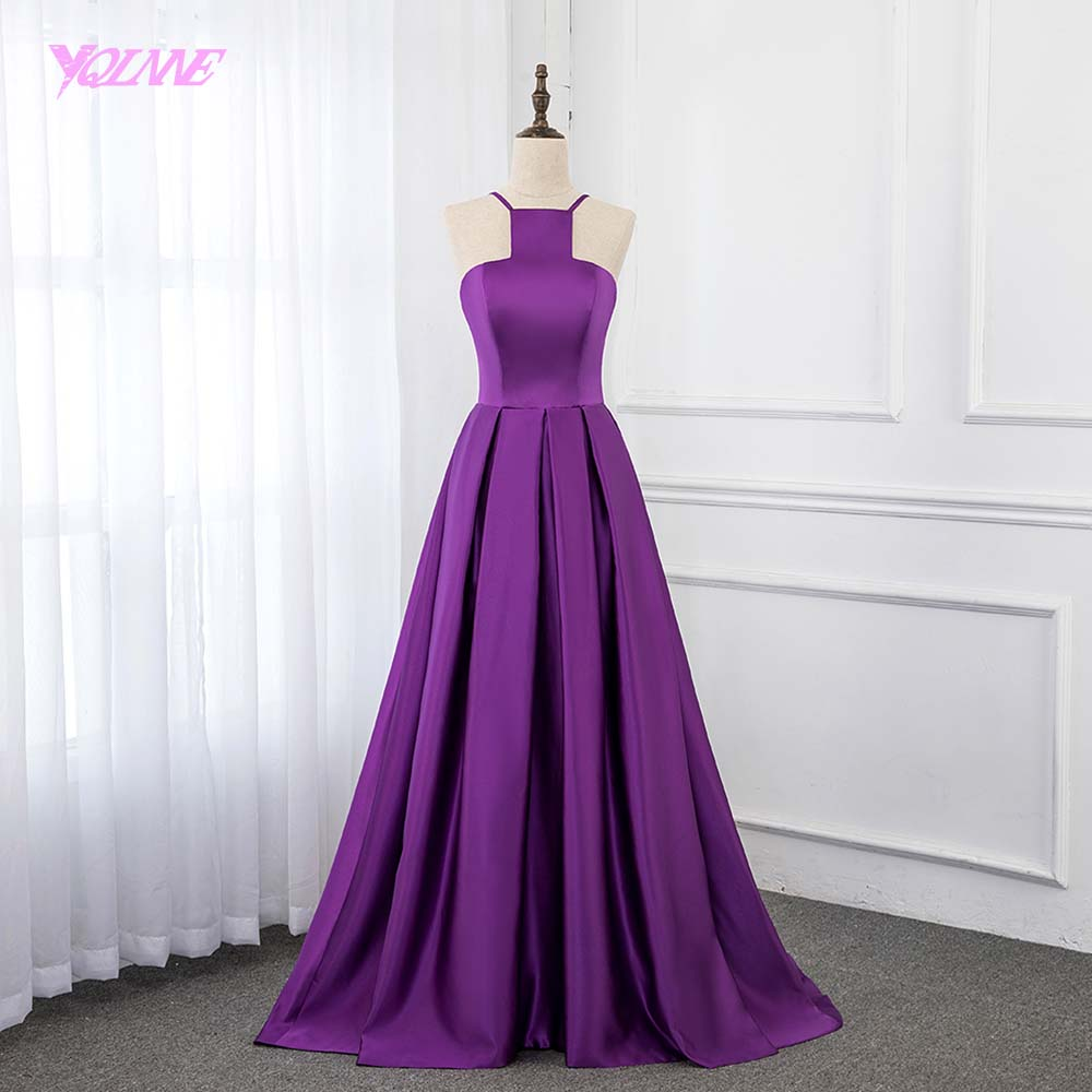 Simple Purple Satin   Prom     Dresses   Long Formal Women Party   Dress   Evening Gown Backless YQLNNE