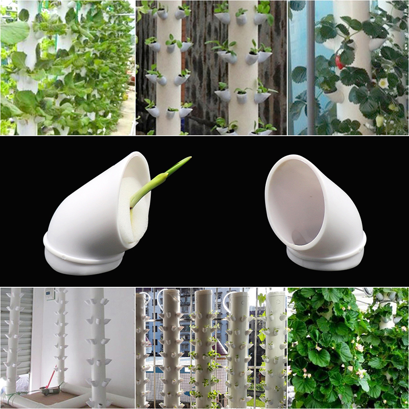 Column Pipe Fixed Plant Cup Hydroponic Systems Greenhouse Balcony Vegetables Strawberry Pipe Nurturing Indoor Kit 5 Pcs