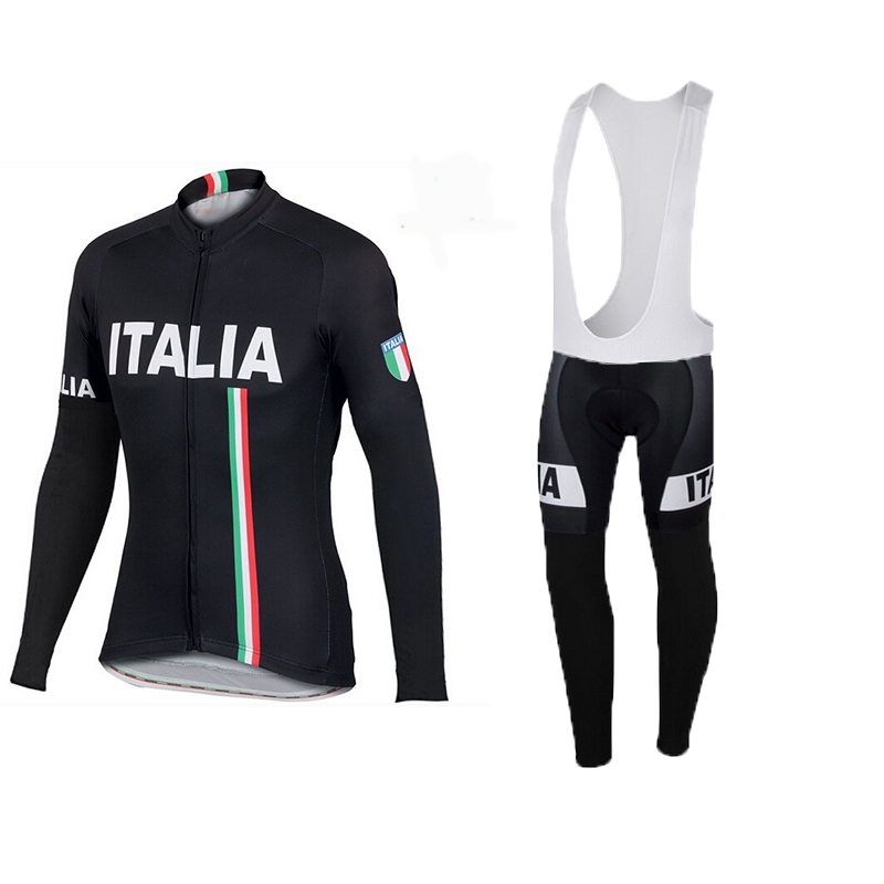 2016 spring autumn pro team Ropa Ciclismo Bicycle maillot Sportful Italy IT Black Long Sleeve Cycling Jersey And  Bib Pants Sets polyester summer breathable cycling jerseys pro team italia short sleeve bike clothing mtb ropa ciclismo bicycle maillot gel pad