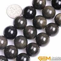 16mm 18mm Naturel Rond Noir D'or Obsidienne Pierre Semi Précieux Énorme Perles DIY Perle Lâche pour La Fabrication de Bijoux en gros