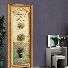Flower Plant Door Stickers  Mural PVC Self-adhesive Waterproof Modern Bedroom WallPaper Living Room home Decoration