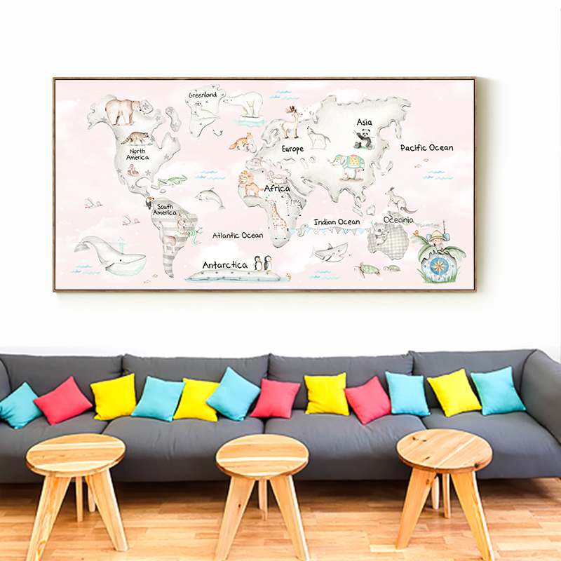 Nordic minimalist style kawaii cute animal world map canvas nordic minimalist style kawaii cute animal world map canvas painting print poster picture art wall home decoration ba092 in painting calligraphy from home sciox Images