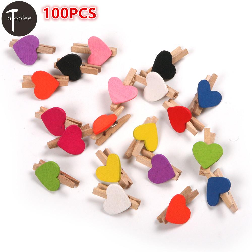 100PCS Cute Love Wooden Heart Mini Clip Clothespin Clips DIy Photo Paper Clips Clamp Party Decorations Random Color liislee car hud head up display for fiat bravo brava ritmo 2007 2015 safe driving screen projector refkecting windshield