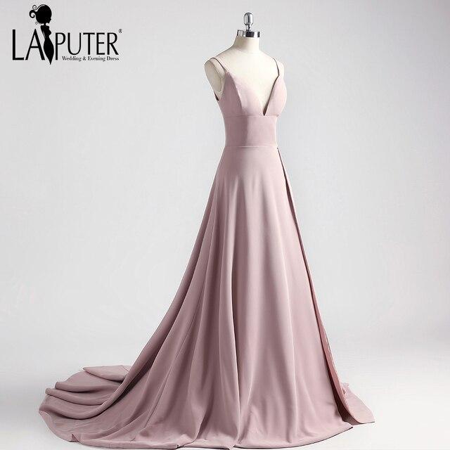Laiputer 2018 Pink Spaghetti Strap Spandex High Slit Sexy V-neck Elegant  Formal Evening Prom Dresses Party Gown Custom Made 1cf58b513