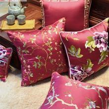 Funda de almohada bordada floral vintage, fundas de cojines de sofá de caoba sólida, estilo étnico, rectangular, funda de almohada grande para el hogar