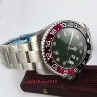 40mm Bliger Green dial Sapphire Glass SS Case Luminous Marks gmt Date Deployment Bucket automatic mechanical Men's Wristwatches