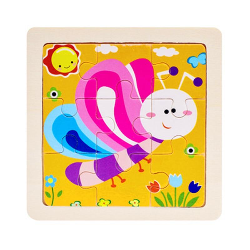 Мини Размер 11*11 см детская игрушка деревянная головоломка деревянная 3D головоломка для детей Детские Мультяшные животные/дорожные Пазлы обучающая игрушка - Цвет: Лиловый