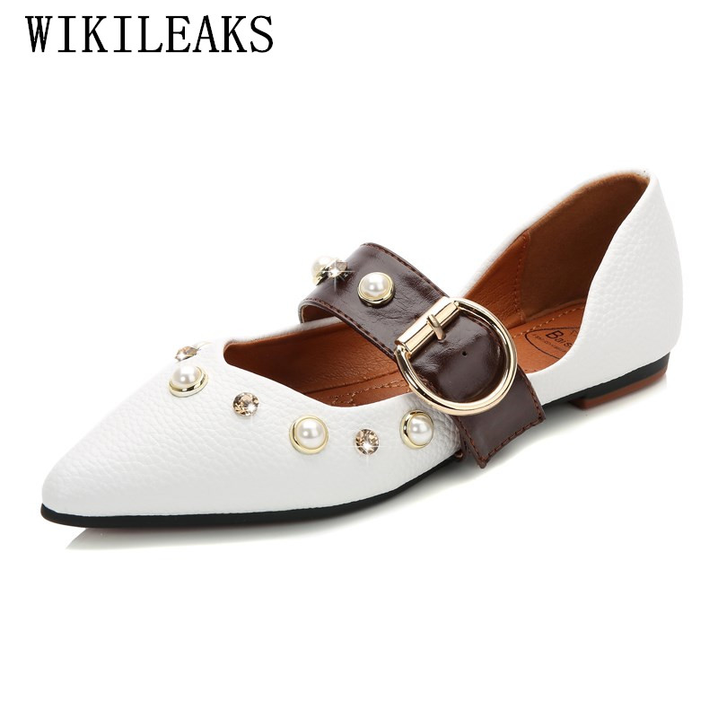 2017 autumn women boat shoes luxury brand  pointed toe loafers pearl diamond leather flats zapatillas mujer casual ladies shoes new designer women fur flats luxury brand slip on loafers zapatillas mujer casual ladies shoes pointed toe sapato feminino black
