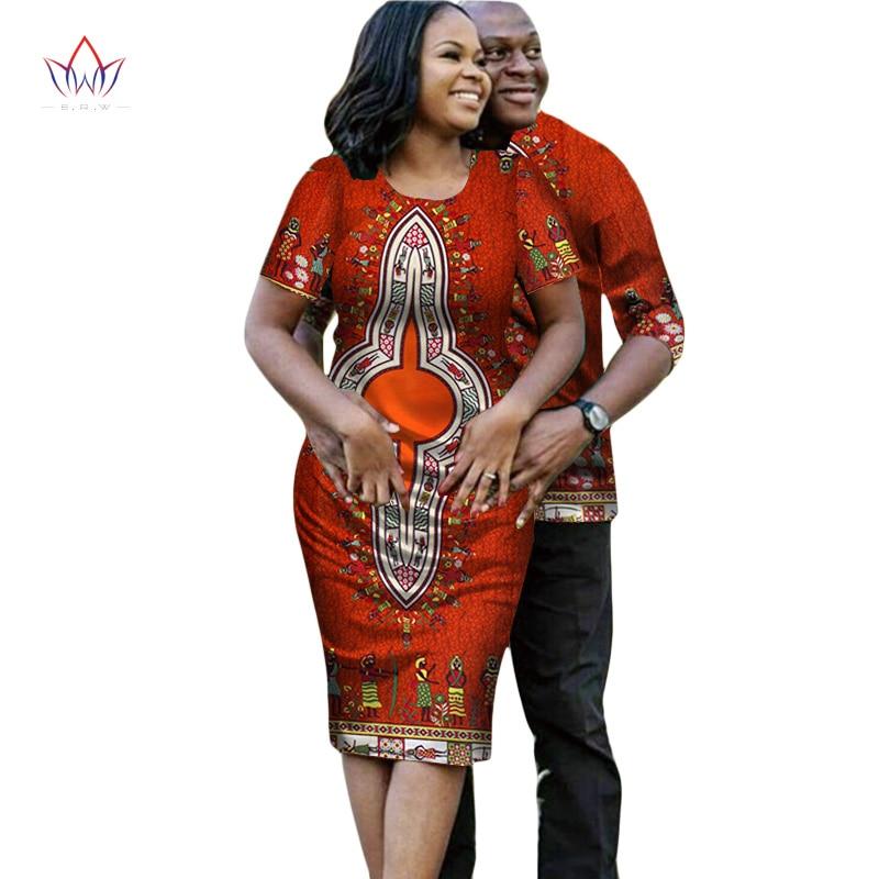 2017 estate Coppia Abbinabili Fabbrica Vestiti casuali Set per la Famiglia African dashiki Stampa Tessuto Magliette e Dress plus size WYQ19
