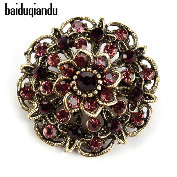 baiduqiandu Retro Antique Gold Color Plated Crystal Rhinestones Flower Pins and Brooches