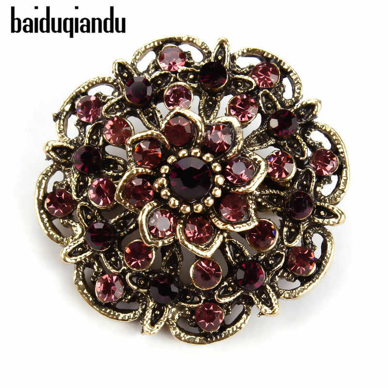Baiduqiandu Retro Antieke Goud Kleur Plated Crystal Rhinestones Bloem Pins en Broches voor Vrouwen Party Bouquet Broche Pins