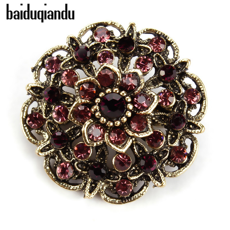 baiduqiandu Retro Antique Gold Color Plated Crystal Rhinestones Flower Pins and Brooches for Women Dress Party or DIY Bouquets|Brooches| - AliExpress