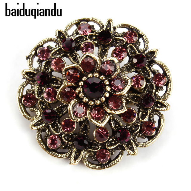 baiduqiandu Retro Crystal Antique Gold Flower Brooches for Women Romantic Weddin