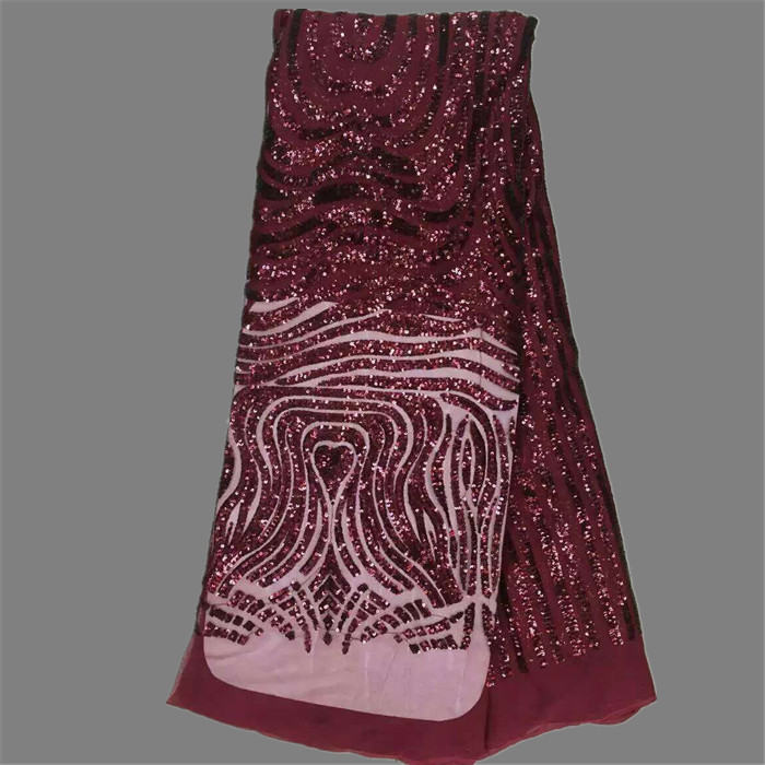 Gorgeous item wine with sequins French net lace fabric for dress African tulle material for dress material QN41 8 multi color
