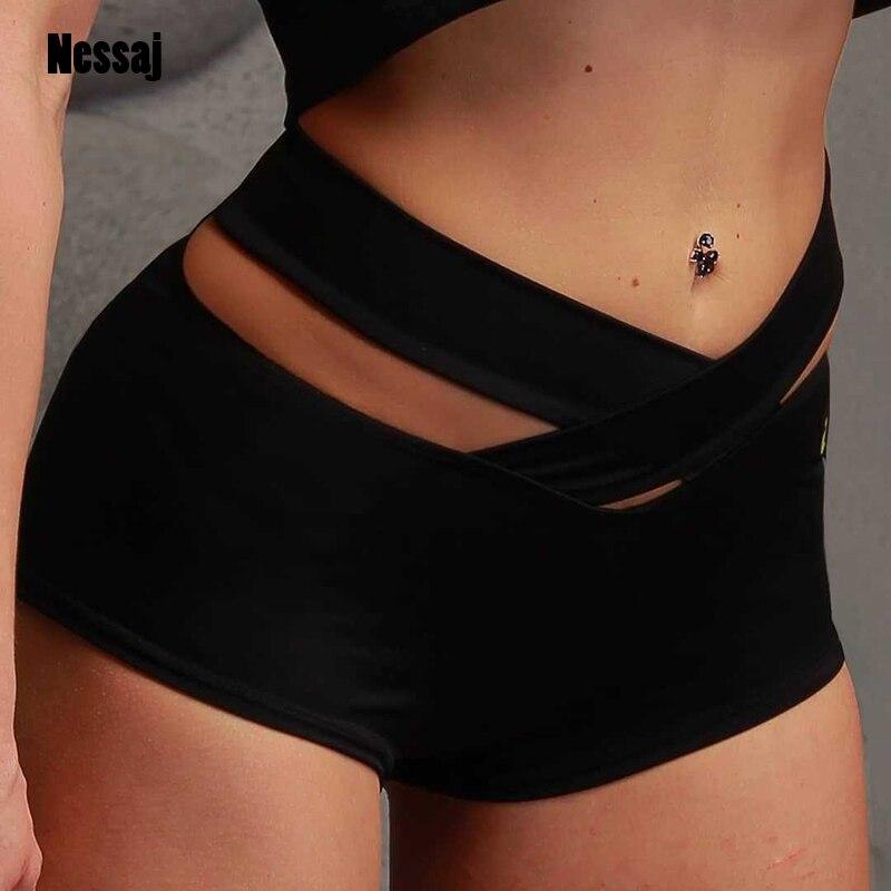 Nessaj Spring Summer Hot   Shorts   Cross Waist Stitching Fitness   Shorts   Hip Lifting High Waist Sportswear Sexy Black   Shorts   Fashion