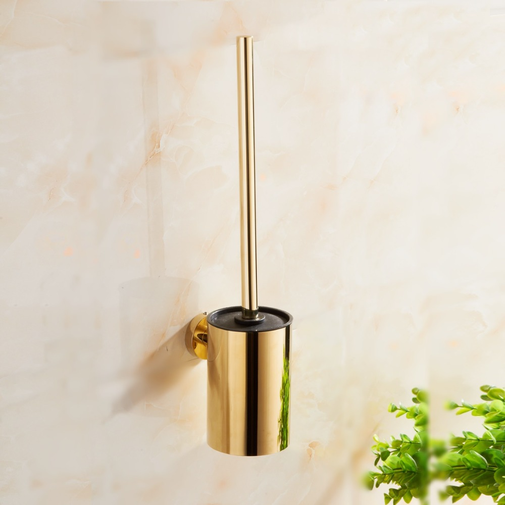 Stainless Steel Toilet Brush Gold Bathroom Cleaning Tool brush Holder With Toilet Brush