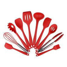 XEJONR 10 Pcs/Set Kitchen Silicone Cooking Tools Utensils Set For Spoon Spatula Ladle Egg Beaters Nonstick Gadgets Cake
