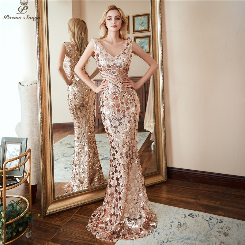 cf7fa0af701b7 Poems Songs Double V Neck Evening Dress Vestido De Festa Formal Party Dress  Luxury Gold Long Sequin Prom Gowns Reflective Dress