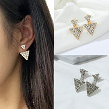 Female accessories earring triangle double rhinestone stud earring fashion big earrings big stud earring e0170(China)