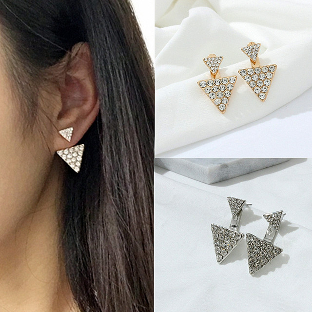 Female Accessories Earring Triangle Double Rhinestone Bling Stud Fashion Earrings E0170