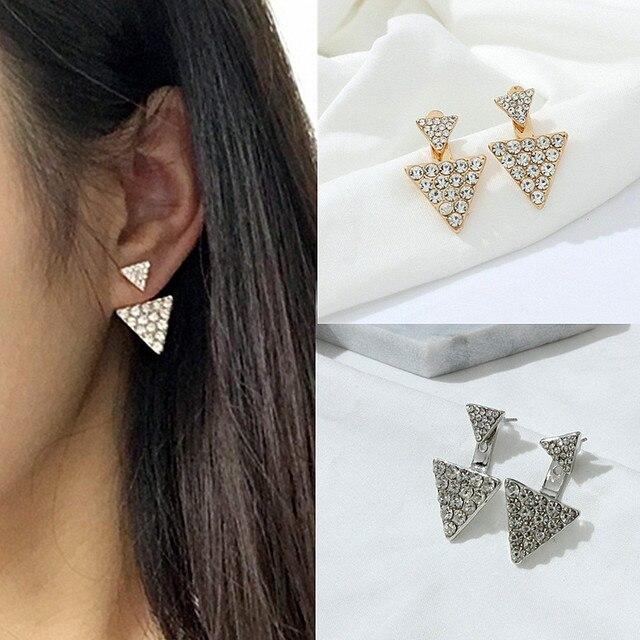 Female accessories earring triangle double rhinestone stud earring fashion big earrings big stud earring e0170