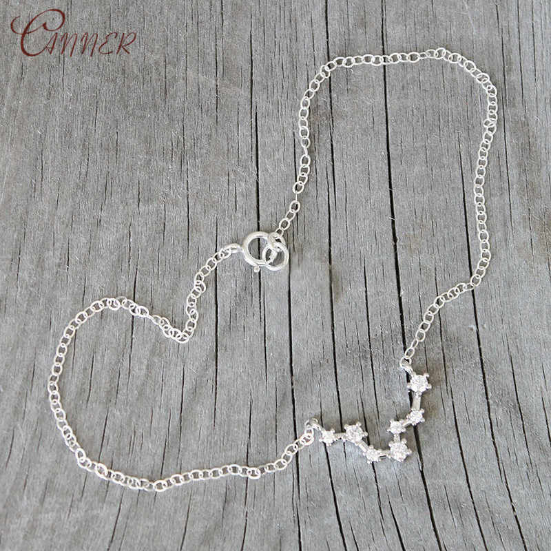 Star Zodiac Sign 12 Constellation Ankle Chain Crystal Pendant Anklet 2019 Summer Beach Foot Jewelry Fashion Anklets for Women