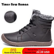 96877b076 Times New Roman Homens Inverno Botas Masculinas Botas de Neve Tornozelo  Botas De Pele À Prova D' Água Quente Bota Casual Shoes C..