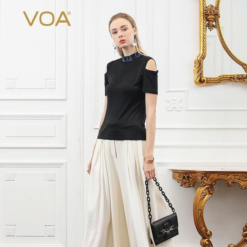 VOA soie tricoté T Shirt femmes noir Sexy épaule dénudée dames hauts Tee manches courtes col haut grande taille été B750