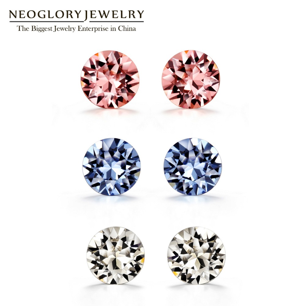 Neoglory Made With Swarovski Elements Crystal Stud Earrings Sets Silver 925  For Women Fashion Jewelry 2017
