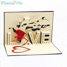 3D Χειροποίητη Ευχετήρια Κάρτα Creative Love Ευχετήρια Κάρτα Αγάπη Creative Gift Φεστιβάλ Κόμμα Προμήθειες