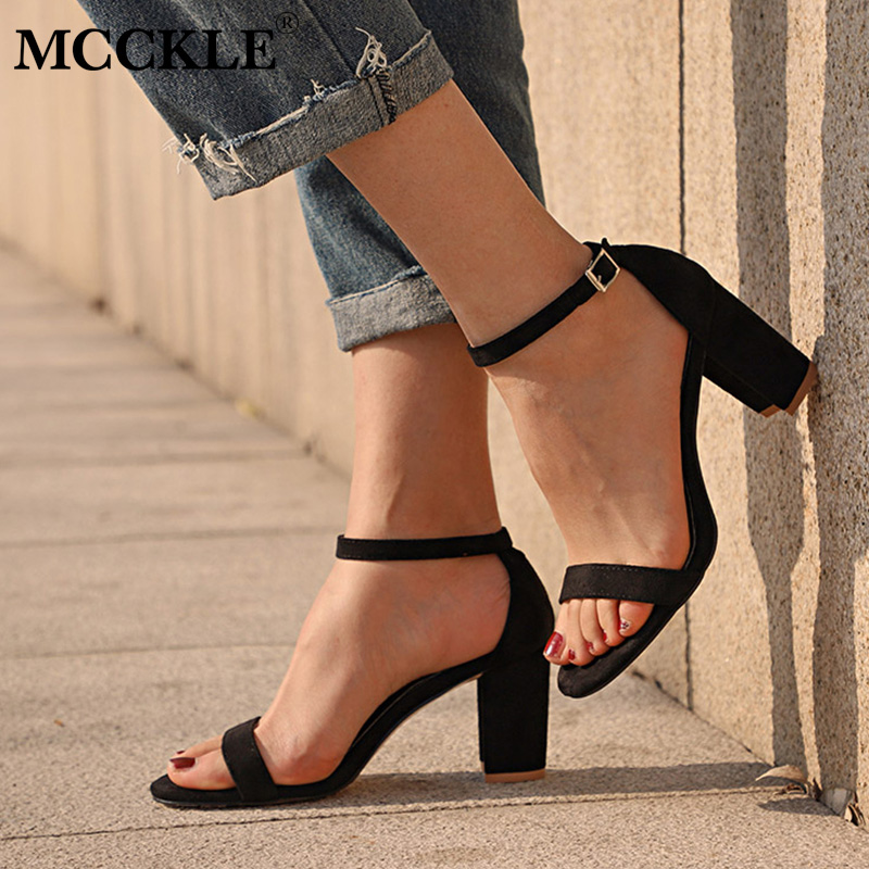 MCCKLE Chunky Heel Women Ankle Strap Gladiator Sandals Women's Summer Shoes Fashion Female Sandilas Cover Heel Flock Party Shoes поварской нож tefal talent 20 см k0910204