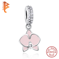 New Brand 925 Sterling Silver Jewelry Elegant Flower Charm Beads For Women With Pink Enamel Beads