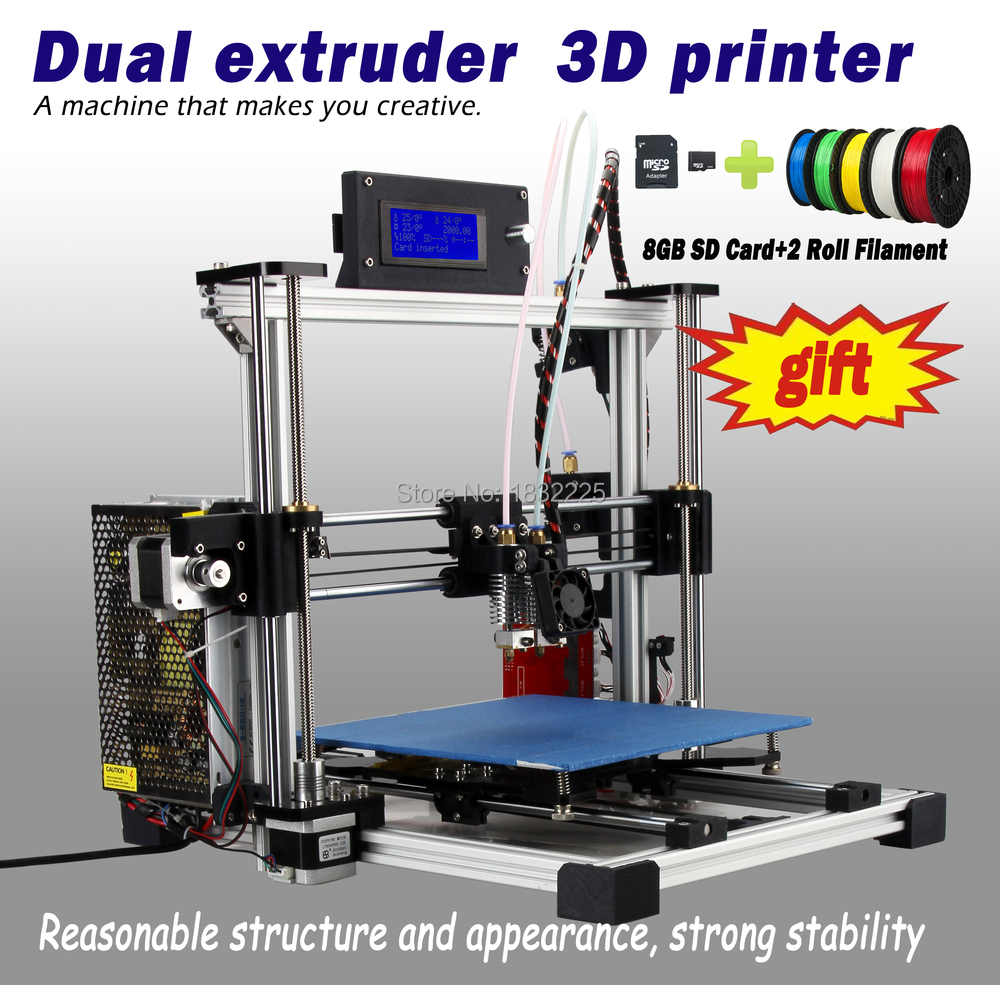 Auto Leveling Double Nozzles Dual Extruder 3d printer reprap prusau i3 kit impressora 3d with LCD 8GB SD card + 2 Rolls filament