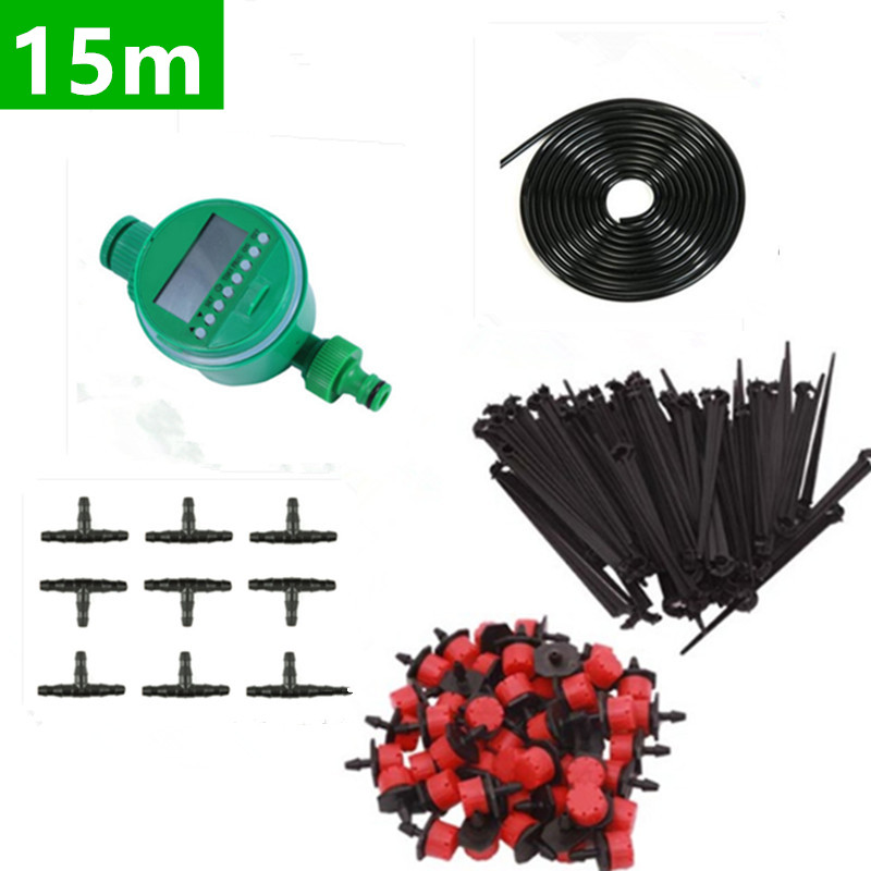 15m DIY Micro Drip Irrigation Plant Self Automatic Watering Timer Garden Hose Kits With Adjustable Dripper
