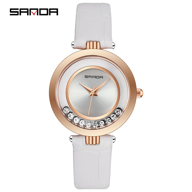 New Quicksand Rhinestone Female Table Rose Gold Woman Quartz Watches Brand Waterproof Clock Leather Bracelet Ladies Dress Watch цена 2017