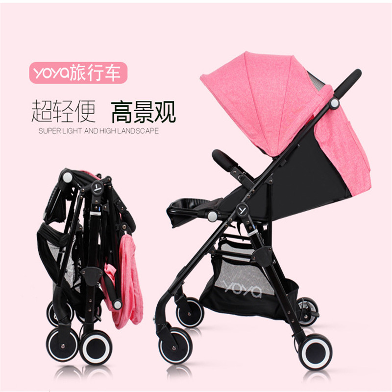 Baby stroller umbrella light folding portable boarding baby stroller can sit flat high landscape ultra light trolley
