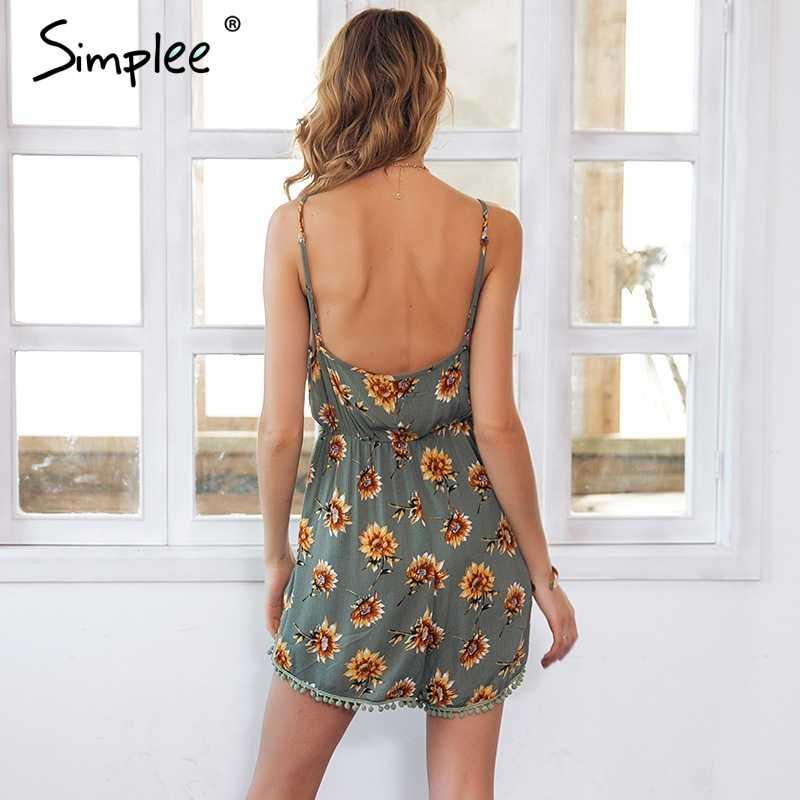 Женский раздельный комбинезон Simplee с кистями, эластичный короткий ромпер с цветочным принтом, открытой спиной и высокой талией, женский повседневный летний пляжный комбинезон
