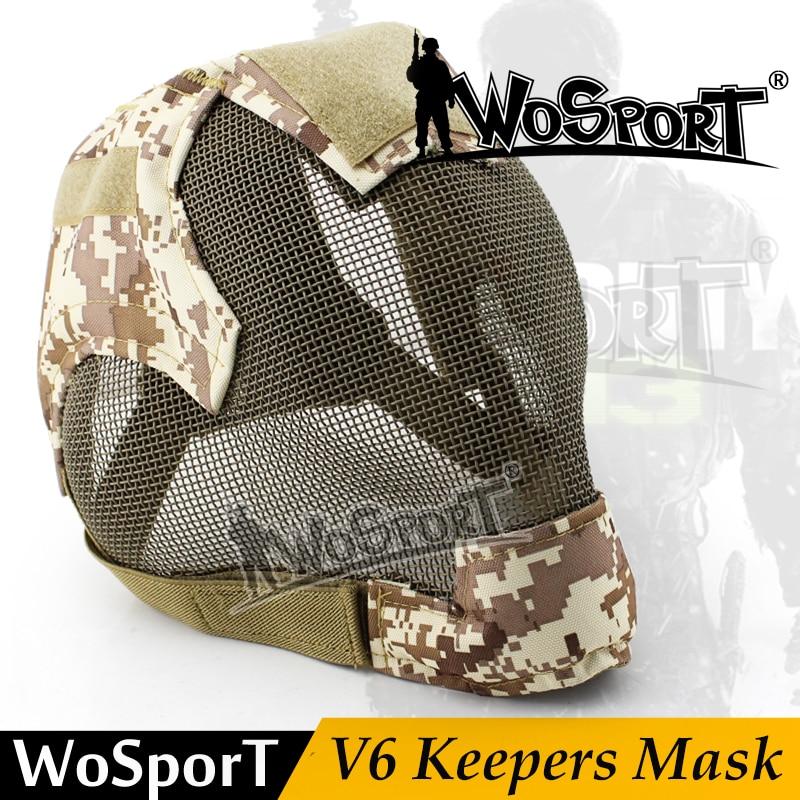 WoSporT militaire Airsoft Paintball Protection tactique maille en acier plein visage V6 gardien multicolore masque pour armée clôture extérieure