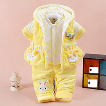 New Cute 3pcs/set Blue/pink Baby Girls Cotton Suit Winter Warm Thicken Clothing Set Pants+Coats+vest Infant Kids Clothes Sets(China)