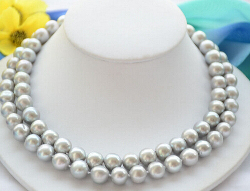 free shipping>>@@ JY&185 2strands 11-12mm ROUND GRAY Freshwater cultured PEARL NECKLACE- рябченко в ред репка сказки