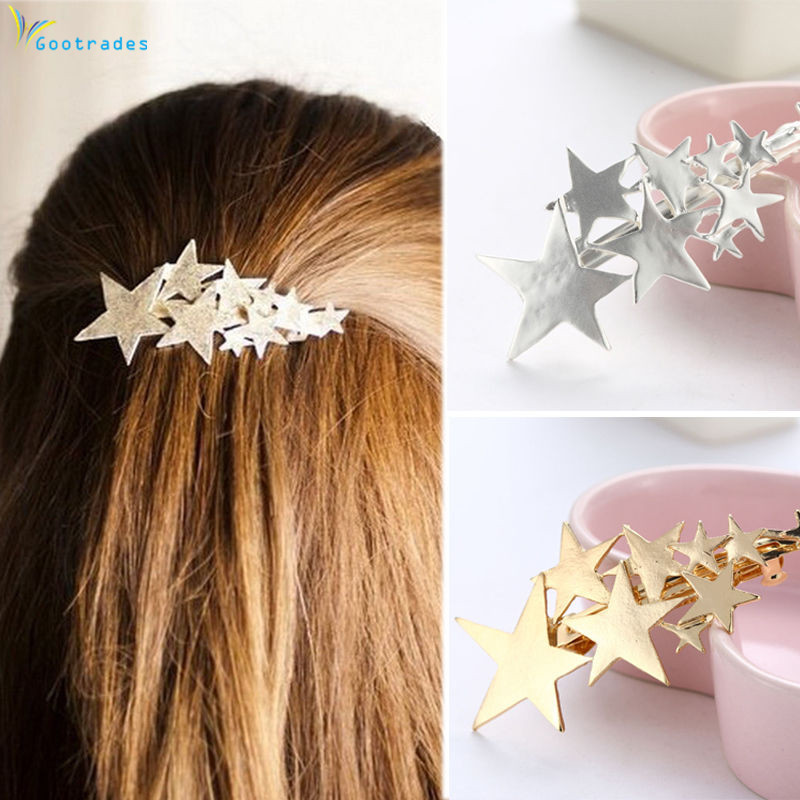 1PC New Fashion Alloy Stars Barrettes Women Vintage Hair Clips Silver Gold Hairpins Hairgrips Girls Hair Accessories For Lady