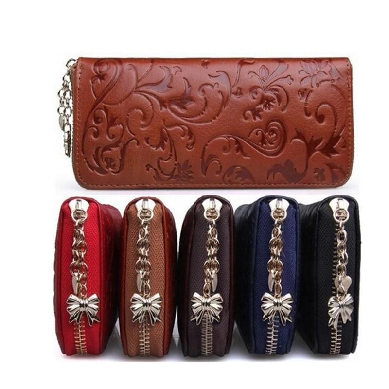 New Fashion Vintage <font><b>Genuine</b></font> Leather Wallets Long Women Clutch Embossing Wallet Ladies Purse Money <font><b>Clips</b></font> Carteira Feminina