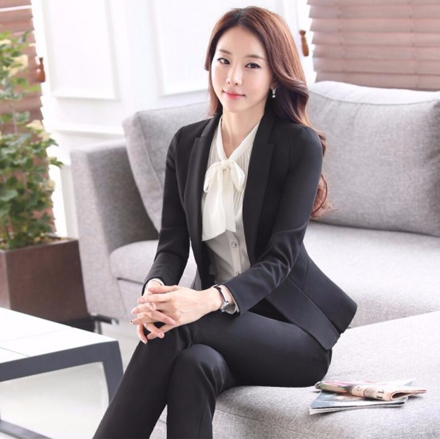 32.1 New Women Interview Formal Work Office Long Sleeve Coat Pant Suits OL Slim V-Neck Business Blazer Slim Suit