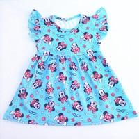 Girls Minnie Dress Children Boutique Dress Gils Summer Flutter Sleeve Dress Clothes Kids Blue Milk Silk