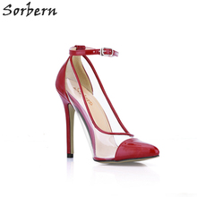 Sorbern Burgundy Shiny Clear Pvc Women Pumps Ankle Straps Party High Heels  Stilettos 2018 Heels Chaussure 06b085256e29