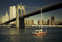 Brooklyn Bridge New York City East River boat river building Home Decoration Canvas Oil Painting Poster Wall Pictures canvas painting modular wall art frame home decor 5 pieces new york city night scene pictures hd print brooklyn bridge poster